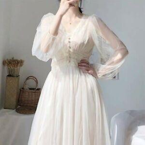 Lady Sweet Lolita Dress High Waist Lace Mesh Fairy Princess Beach Prom Gown