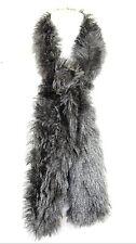 B117 Faux Fur Metallic Shimmer Long Scarf Wrap Burnt Orange Teal Blue Brown Gray