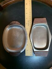 2 Lot Japan Small Stainless Steel Wood Handled Serving Trays Candy Nuts Sushi