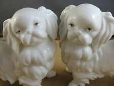 2 Vintage Ardalt Lenwile Bone China White Porcelain Pekinese Dog Figurine