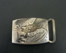 Vintage Dragon Serpent Signed Asian Chinese 950 Silver Belt Buckle