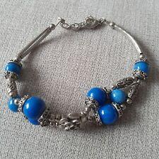 Women-girls- Tibetan 925 Silver Charm Bracelet-Blue- New