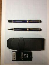 More details for waterman rhapsody le man 200 fountain pen set : marble blue : 18k gold broad nib