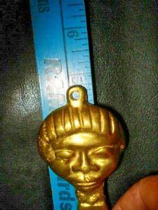 """Vintage 5"""" Solid Brass Aztec Mayan Beer Bottle Cap Opener"""