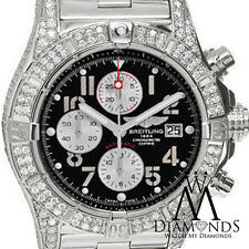 Men's Breitling Super Avenger Black Dial A13370 Watch With Certified Diamonds