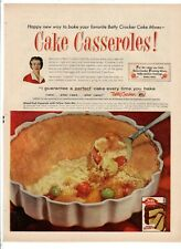 "BETTY CROCKER CAKE CASSEROLES Vintage 1950's 8"" X 11.25"" Magazine Ad B3"
