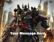 TRANSFORMERS PERSONALISED EDIBLE ICING CUSTOM CAKE DECORATION TOPPER IMAGE 7x10