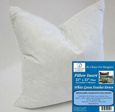 """22"""" Pillow Insert - White Goose Feather Down - 2"""" Oversized & Firm Filled"""