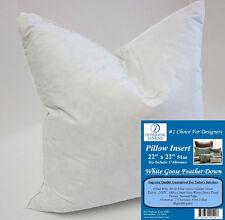 "22"" Pillow Insert: 51oz. White Goose Down - 2"" Oversized & Firm Filled"