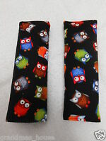 Baby Seat Strap Covers Car Highchair Stroller Bright Owls On Black