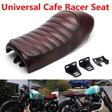 Brown Hump Saddle Cafe Racer Seat Crocodile Pattern For Honda CB CL Suzuki GS SI