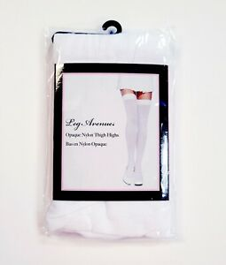 Leg Avenue Opaque Thigh Highs Tights Solid White One Size 90-165lbs