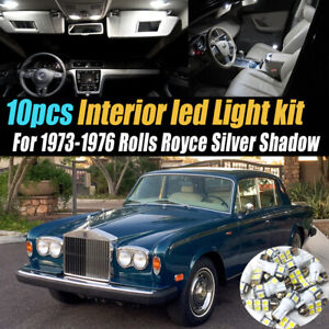 10Pc White Car Interior LED Light Kit for 1973-1976 Rolls Royce Silver Shadow