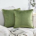 """Pom Poms Velvet Cushion Cover Home Decor Sofa Pillow Cases 18"""" 20"""" 22"""" 24"""" 26"""""""