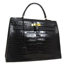 HERMES KELLY 35 SELLIER Hand Bag Purse Black Crocodile Leather Vintage NR14630