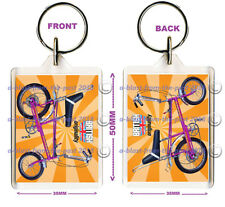 RETRO RALEIGH CHOPPER (PINK) DOUBLE SIDED KEYRING/BAG TAG 50MM X 35MM