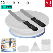 11'' Cake Stand Turntable Rotating Comb + Icing Smoother + Icing Spatula Decor