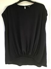 """Warehouse"" Women's Top, Size 12, Navy, Elasticated Ruching to front, Exc Cond"