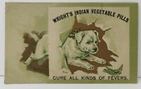 Wright's Indian Vegetable Pills Victorian Trade Card Fever Cure Puppy Dog Bird