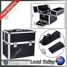 Portable Beauty Cosmetic Makeup Carry Case Box with Mirror Black