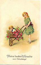 Geburtstag, Mädchen mit Schubkarre, Rosen, um 1910