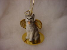 HUSKY dog ANGEL Ornament Resin Figurine NEW Brown Eye GRAY WHITE puppy Christmas