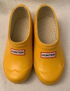HUNTER Yellow Rain Clogs Shoes Kid's 12M 13F Rubber Waterproof Slip-on