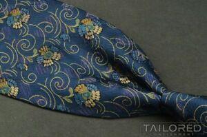 "ERMENEGILDO ZEGNA Blue Geometric 100% Silk Mens Luxury Tie - 3..875"""