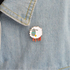 Lovely Cartoon White Sheep Animal Enamel Brooch Pin Collar Badge Fashion Jewelry