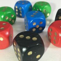 Set of 8 Dice multicoloured ideal Replacement for board game like Monopoly D&D