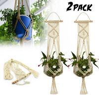 2x Vintage Macrame Plant Hanger Flower Pot Garden Holder Leg Hanging Rope Basket