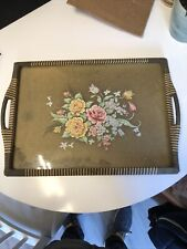 More details for lovely vintage/antique floral multicoloured wicker and wood tea tray.