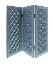 Dreiteiliger Fenster Paravent Medieval Mittelalter Blau Shabby Chic 45x60cm