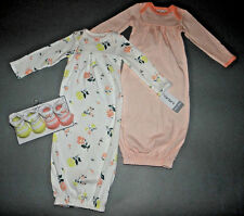 Baby girl clothes, 0-3 months Carter's 2 floral gowns, 2 matching booties/Reborn