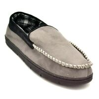 Mens Moccasin Slipper Size XXL 13 Gray Faux Suede Plaid Soft Lining NEW