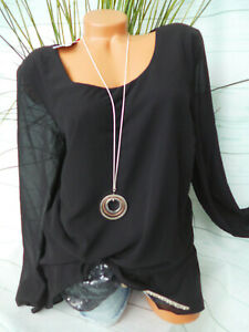Sheego Chiffon Blouse Sequin Black Layers Look (859) (002) (596) (Def )
