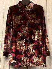 NWT Denim & Co. Sz 1X Stretch Velour Long Sleeve Shirt Top Floral Paisley