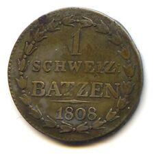 Suisse Canton de Thurgovie Thurgau Napoleonide 1 Batzen 1808 KM 4