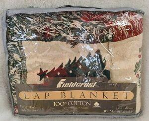 Vtg Fieldcrest Lap Blanket Style15465 (NOS) Fringed Ends (Seasons Greetings)