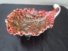 Coupe vide poche coquillage verre moucheté Murano vers 1950