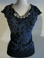 Top Large Blue Gold Metallic Paisley Cap Sleeve Rhinestone Necklace NWT G38