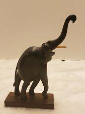Vintage Buffalo Horn Hand Carved Dark Wood Elephant on Wood Base
