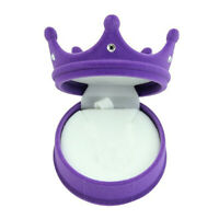 GI- Crown Velvet Ring Display Box Stud Earring Jewelery Case Gift Container Delu