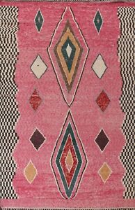 Thick-Plush Modern Moroccan Berber Geometric Hand-knotted Oriental Area Rug 9x12