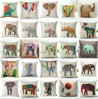 "18"" Cotton Linen Elephant Pillow Case Square Sofa Throw Cushion Cover Home Decor"