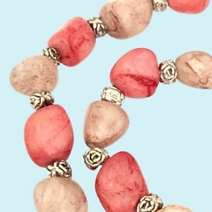 Pink Gemstone Beaded Necklace Silver Tone Spacer beads 68 cm