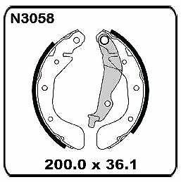 Holden Barina TK 1.6L 2005-2011 REAR Drum Brake Shoe SET N3058