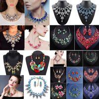 Women Fashion Crystal Necklace Choker Bib Statement Pendant Chain Chunky Jewelry