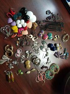 BULK LOT Fashion Jewelry Pierced & clip Earring Lot (50+ pair) Various styles