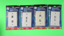 Lot of 4 Monster 2 Port Computer Wall Plate Almond #140235-00